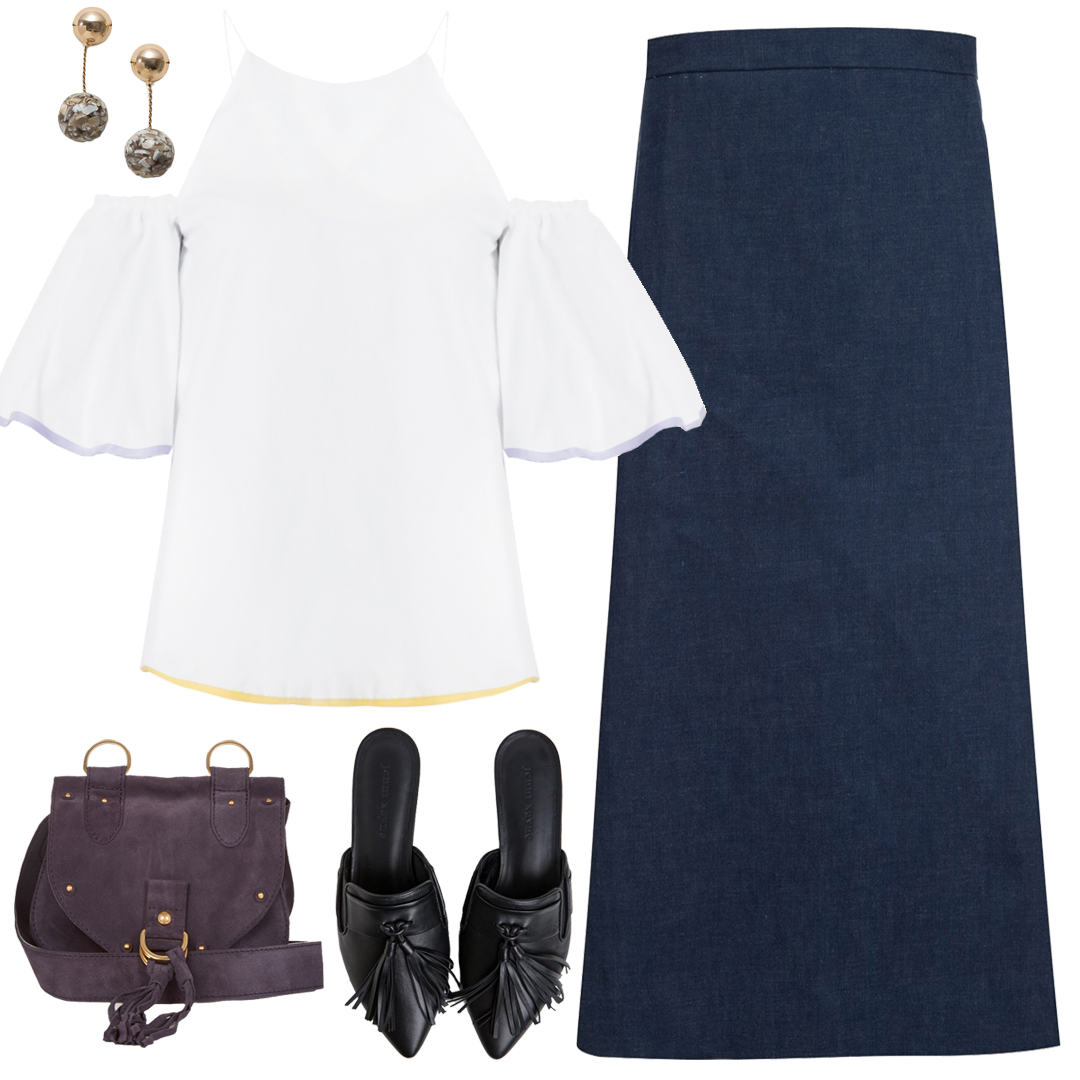 <p>With a Off-the-shoulder top + Denim maxi Skirt</p>