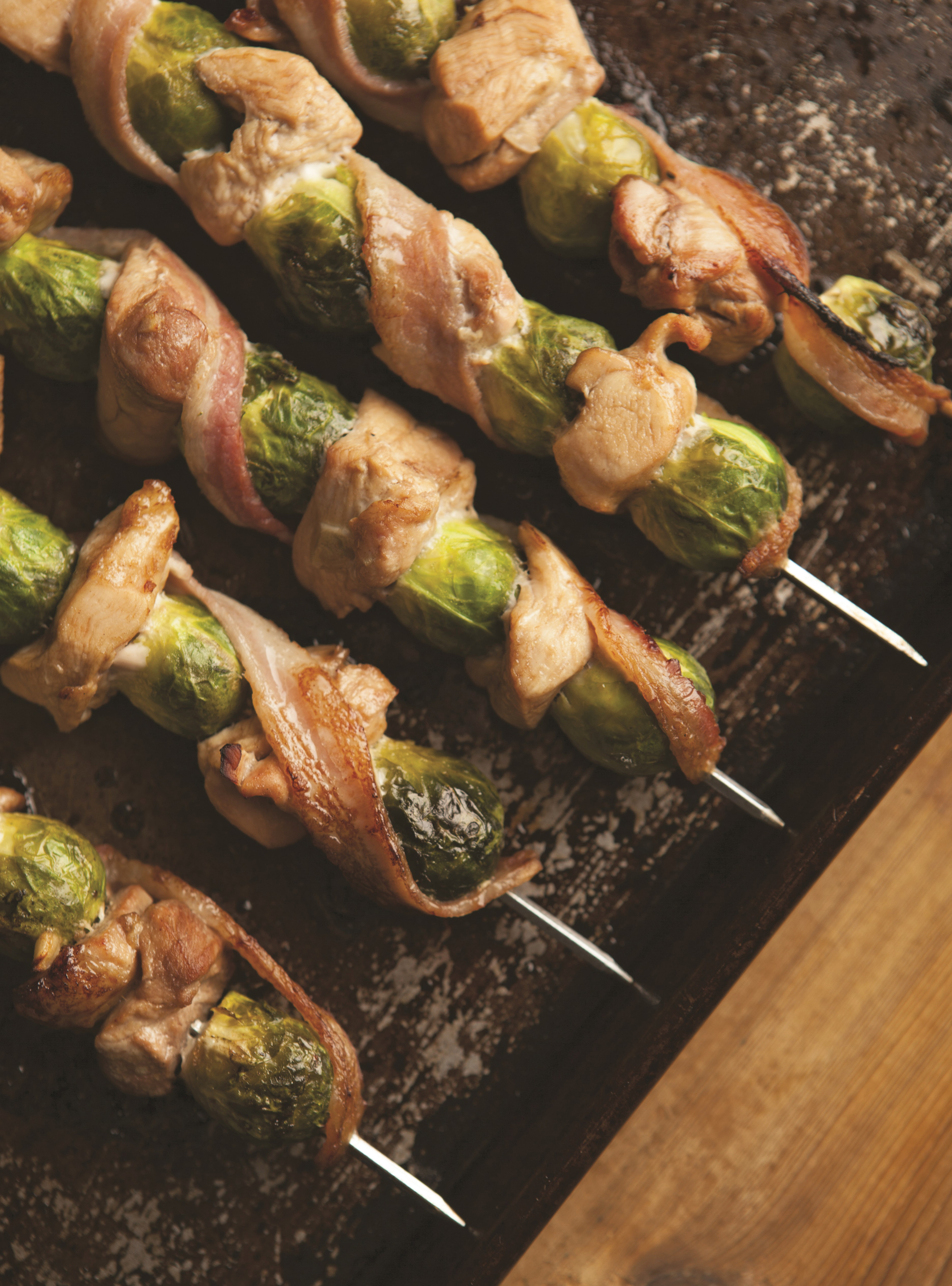Easy Weeknight Dinner: Chicken, Brussels Sprouts, and Bacon Skewers