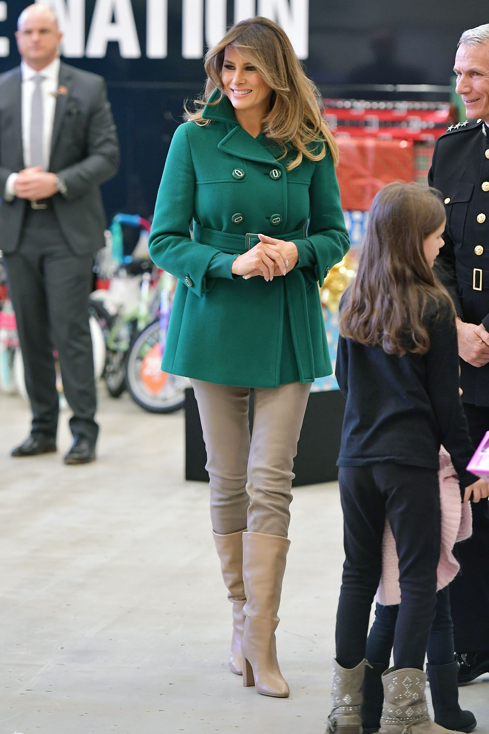 Melania Trump Is Feeling the Holidays in a Festive Green ... Old Military Boots