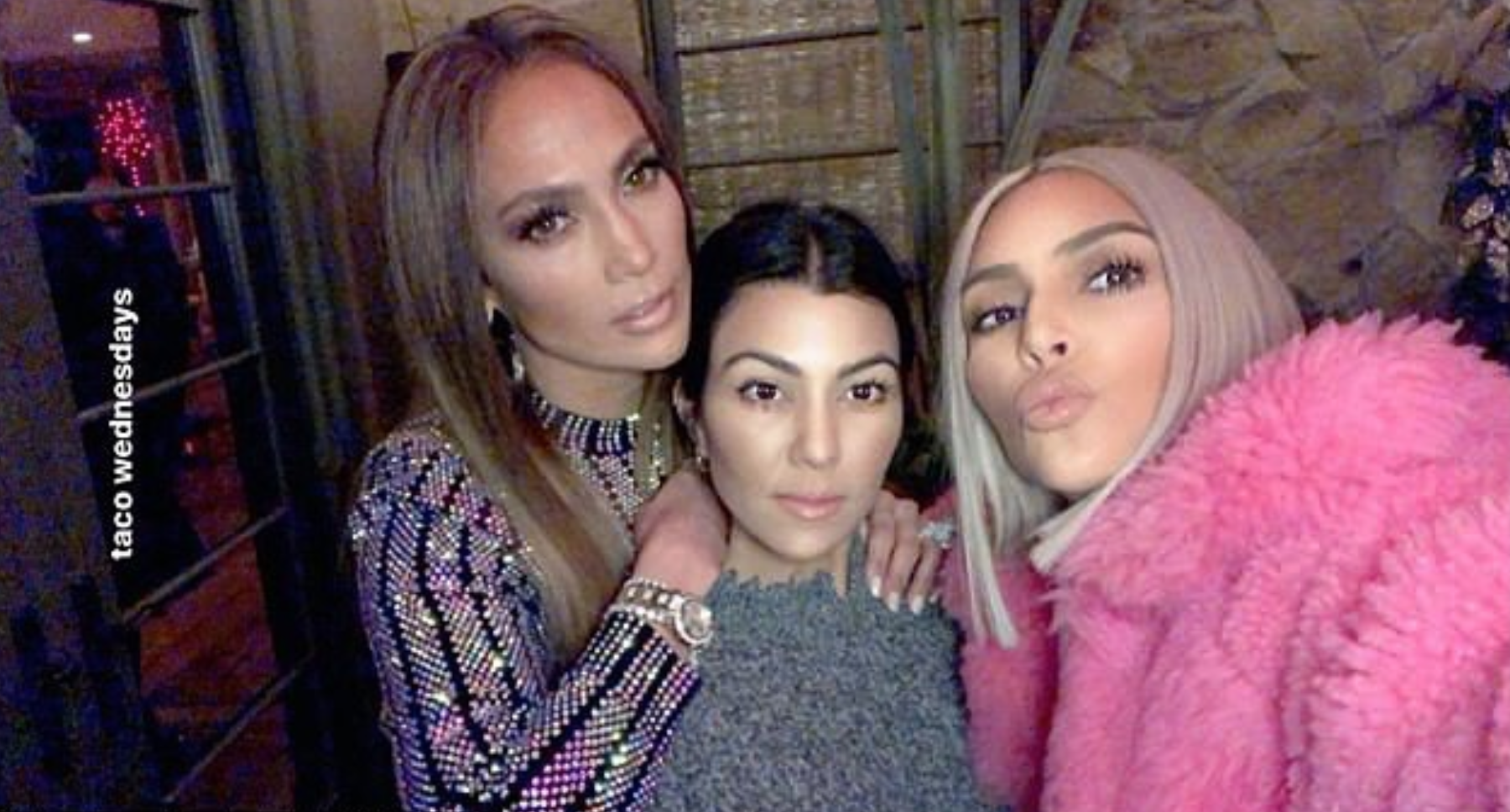 Kim Kardashian Attends Jennifer Lopez's Taco Fiesta With Her Mother & Sister