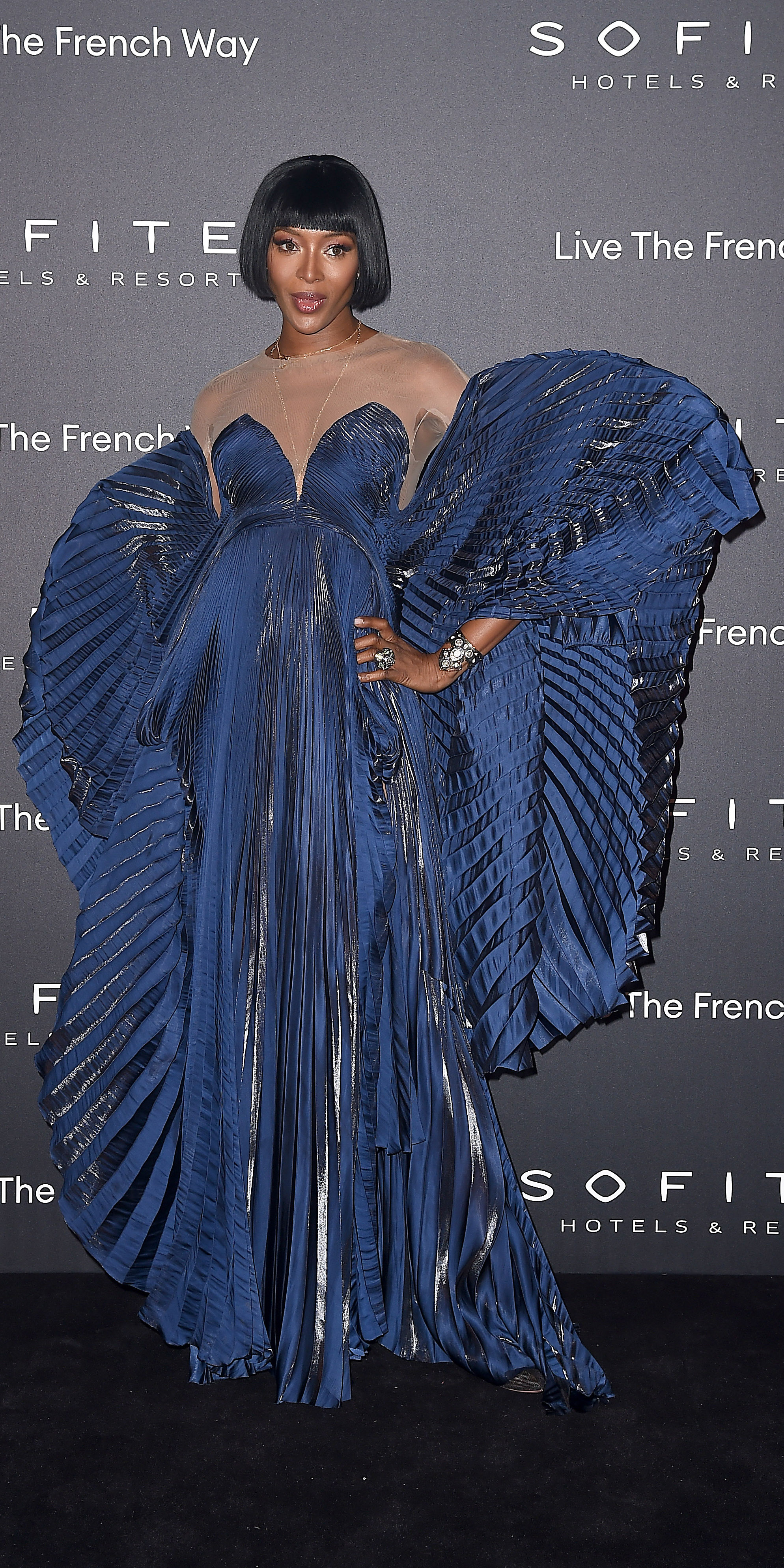 3339be1f93 Naomi Campbell Shut It Down in Sheer Valentino Couture