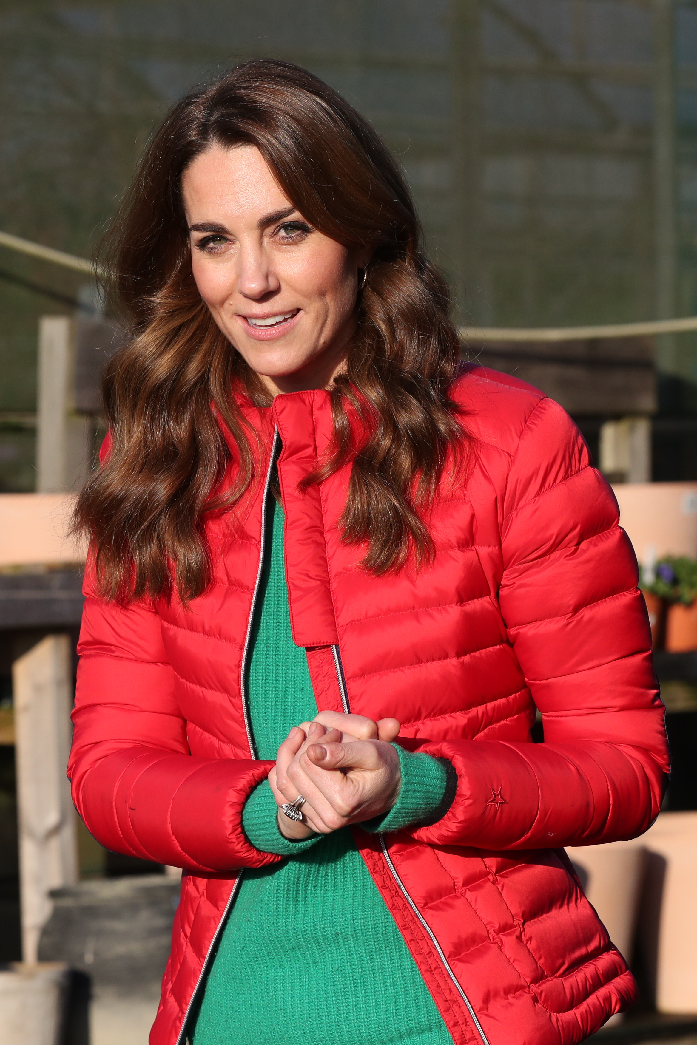 Kate Middleton Wears a Red Puffer Jacket