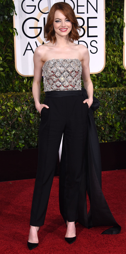 "Emma Stone's Globes Makeup: ""She Didn't Wear a Traditional Gown So We Wanted It to Be Playful and Coquettish"""