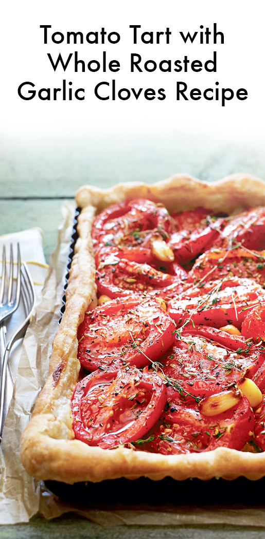 Tomato tart with herb oil, tapenade and watercress and ...