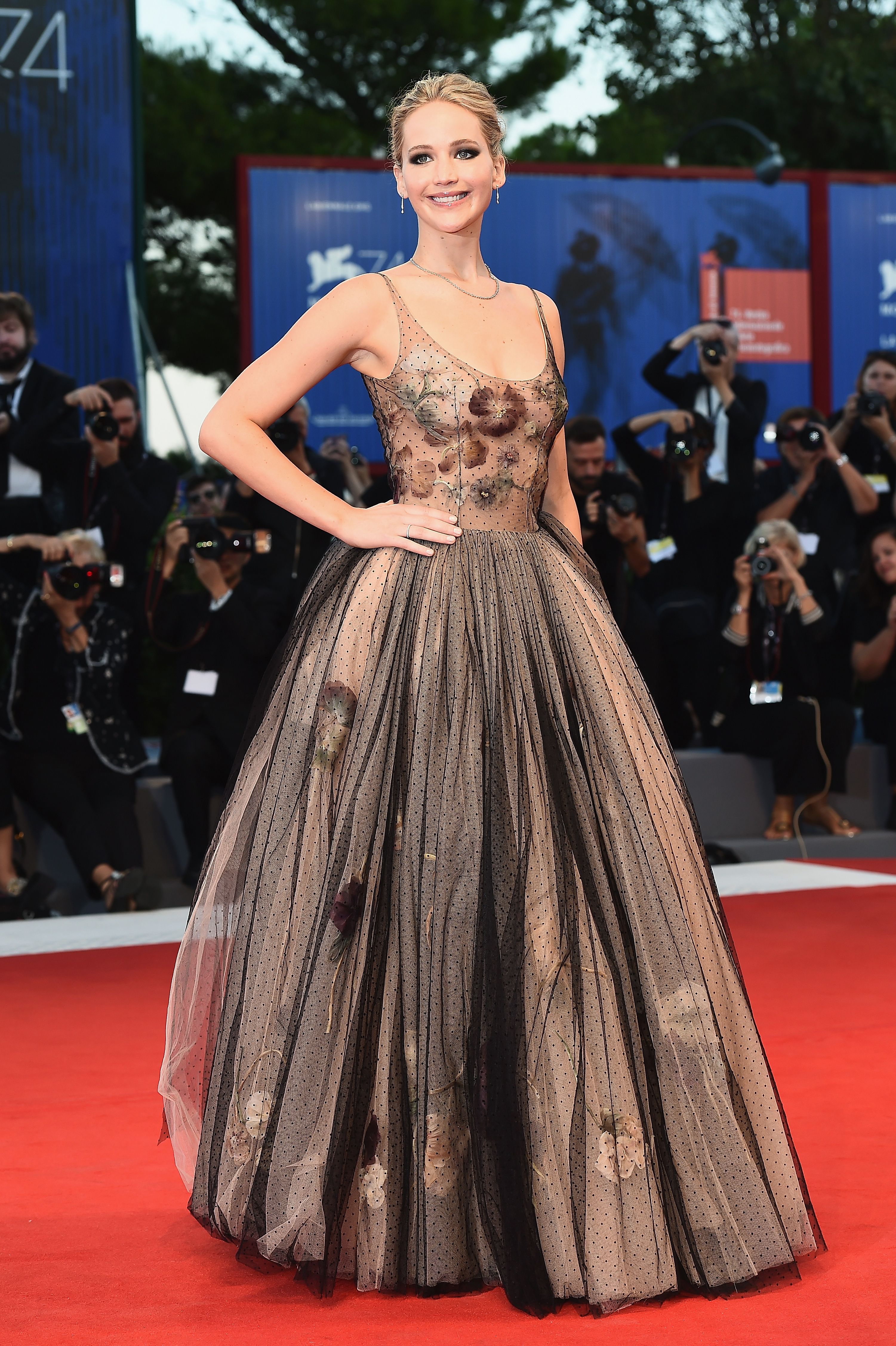 Jennifer Lawrence Wears a Sheer Dior Ball Gown to the Venice Film ...