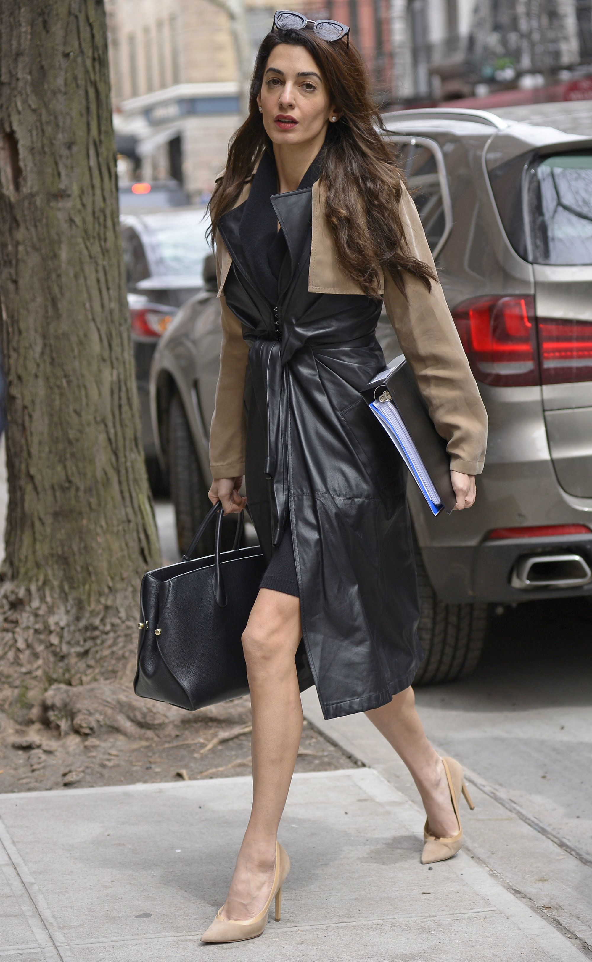 Amal Clooney's Leather Trench Coat Is the Chic Spring Staple We All Need