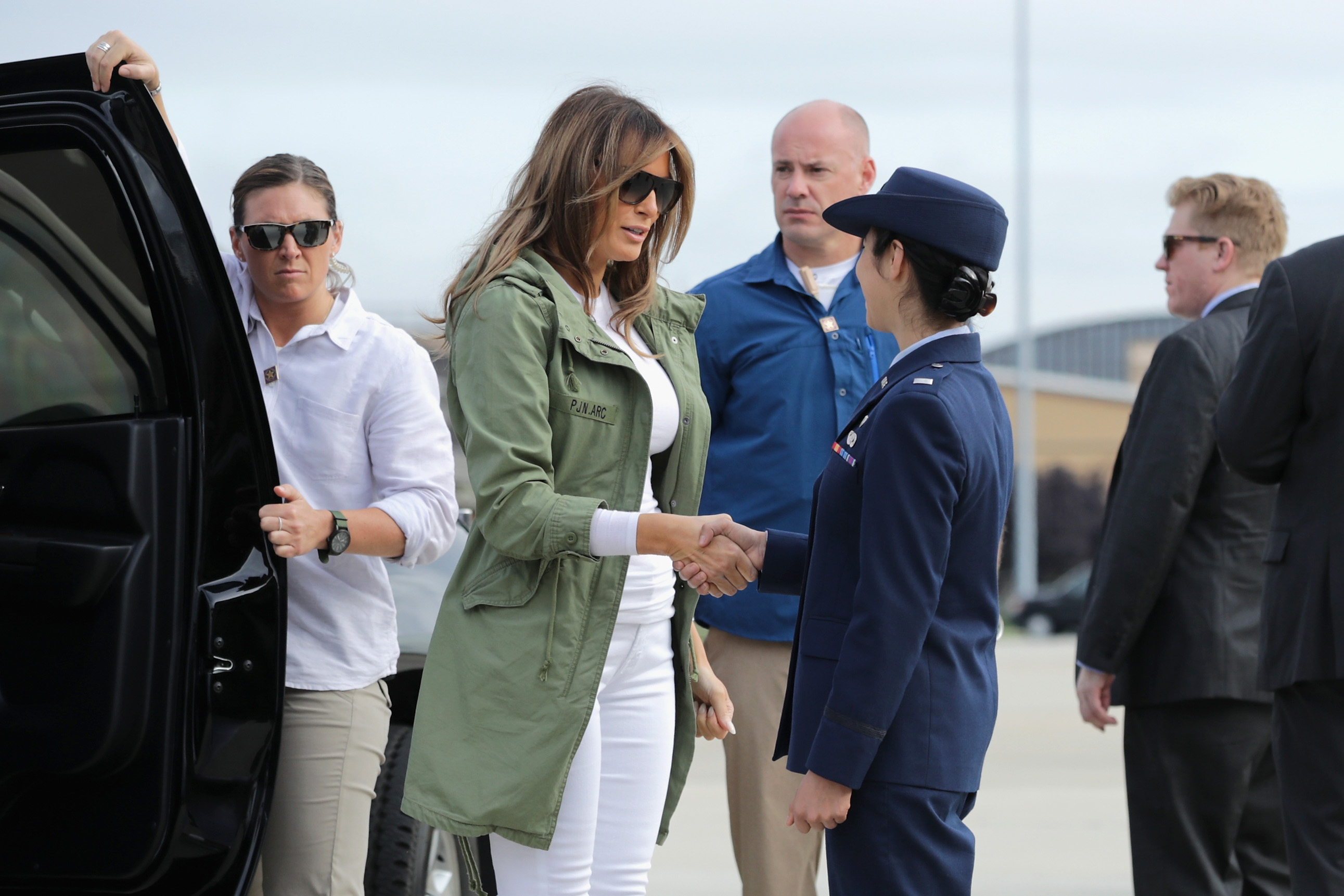 """Melania Trump Wears """"I Really Don't Care"""" Jacket for Surprise Visit to Texas Border"""