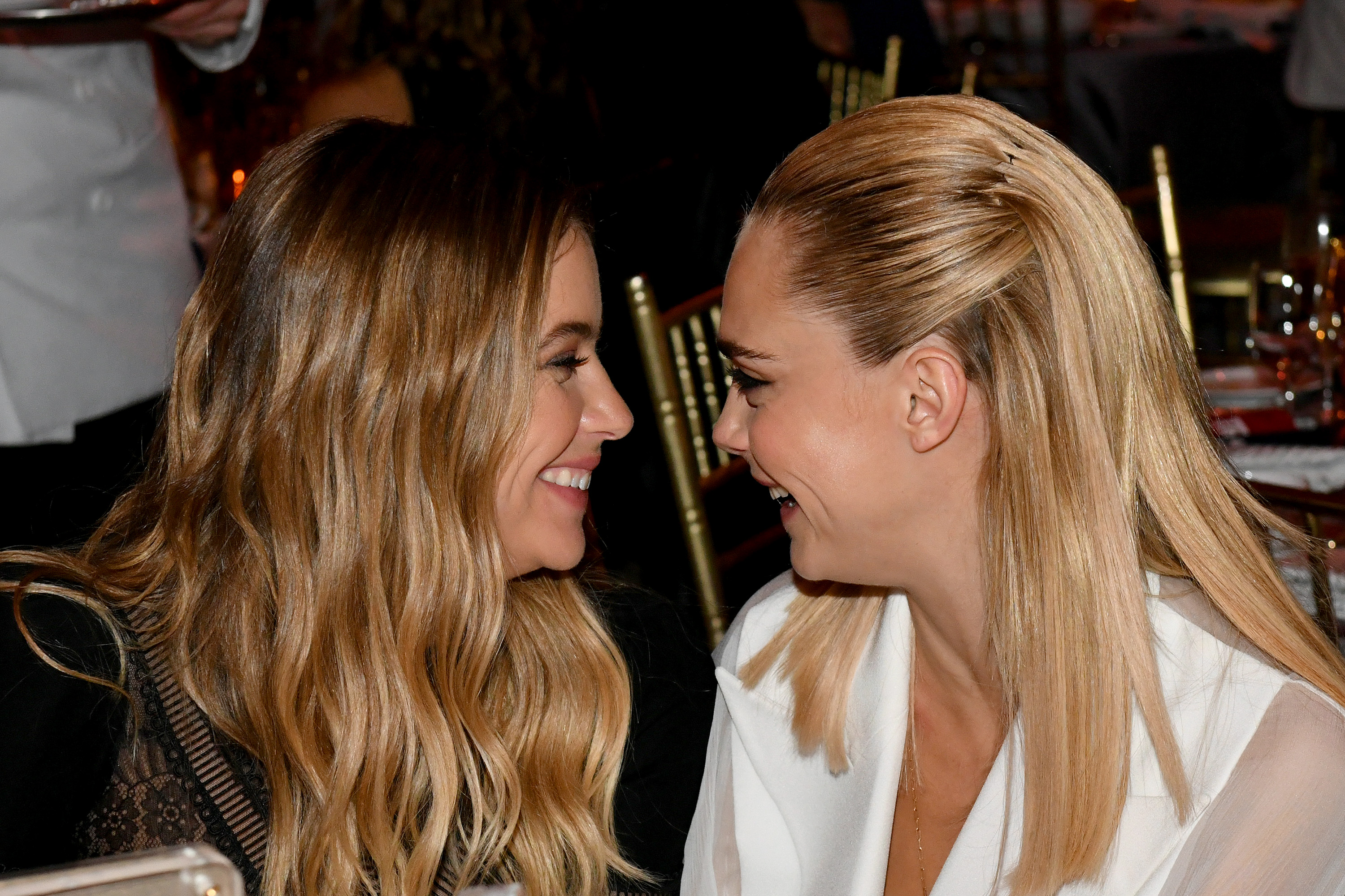 Cara Delevingne and Ashley Benson Coordinated with Sheer Accents at Zoë Kravitz's Wedding