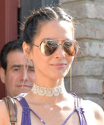Olivia Munn Looks Like a SoCal Goddess in a Purple Chiffon Dress
