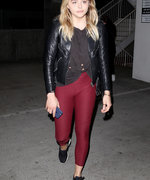 Chloë Grace Moretz Rocks Red Leggings for Night Out with Brooklyn Beckham and Meghan Trainor