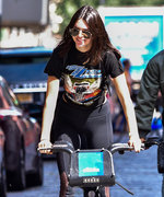 Kendall Jenner Rides a Citi Bike in Sheer-Panel Leggings