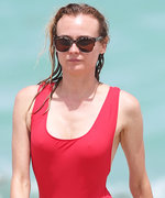 Diane Kruger Wears Smokin' Hot Cherry Red One-Piece Swimsuit in Miami