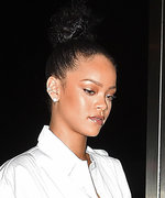 Rihanna Looks Loved Up in a White Shirtdress While Enjoying Date Night with Drake