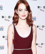 Emma Stone Serves Up Retro Vibes in a Stunning Wine-Red Dress