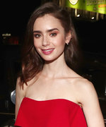 Lily Collins Channels Old Hollywood Glam in a Red-Hot Strapless Dress
