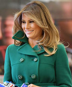 Melania Trump Is Feeling the Holidays in a Festive Green Prada Coat