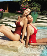 Bella Hadid and Mom Yolanda Foster Wear Matching Red Bathing Suits