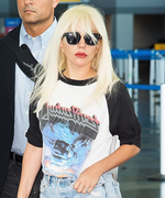Lady Gaga Gets Cheeky in Denim Short-Shorts at the Airport