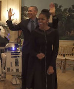 The Obamas Celebrate Star Wars Day by Dancing with R2-D2 and Stormtroopers