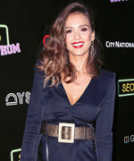 Jessica Alba Rocks the Red Carpet in Plunging Dress and Studded Peep-Toes