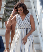 Michelle, Malia, and Sasha Obama Touch Down in Spain Wearing Chic Coordinating Outfits