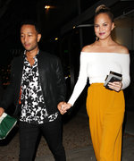 Chrissy Teigen Glows in Sexy White Top and Yellow Pants While Out with John Legend