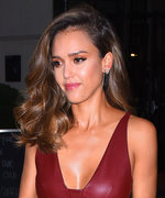 Jessica Alba's Burgundy Leather Dress Is How to Seamlessly Transition from Summer to Fall