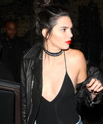 Kendall Jenner Rocks Plunging Black Bodysuit and Denim Cutoff Shorts in L.A.