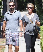 Katherine Heigl Displays Her Baby Bump in Gray and Black Athleisure Wear