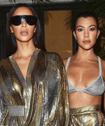 Kim Kardashian West Twins with Sister Kourtney in Slinky Metallic Ensembles at Balmain's #PFW After-Party