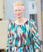 Tilda Swinton Shows Off Her Signature Style in a Whimsical Geometric Dress