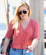 Hilary Duff Goes Casual in a Crop Top and Ripped Jeans for L.A. Lunch Date
