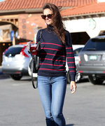 Katie Holmes Delivers All-American Street Style in a Preppy Striped Turtleneck