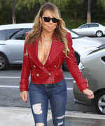 "Mariah Carey Films Holiday ""Carpool Karaoke"" in Sexy Red Jacket"