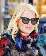 Jessica Simpson Goes Full-On '70s in Major Bell Bottoms and a Colorful Fur Coat