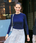 Katie Holmes Enjoys a Breezy N.Y.C. Day in a Pretty, Printed Skirt
