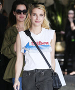 Emma Roberts Makes a Wilson Sporting Goods T-Shirt and Striped Pants Look Oh So Cool