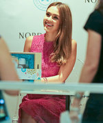 Jessica Alba Shows Off Her Toned Calves in Floral Pink Dress