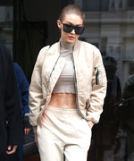 Gigi Hadid Gets Sporty in a Crop Top and Ivory Joggers