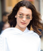 Bella Hadid Flashes Her Abs in a Cropped Bell-Sleeve Hoodie