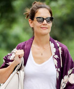 Katie Holmes Wears a Purple Kimono-Style Coat with Mom Jeans