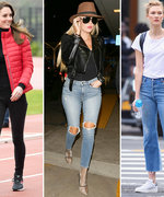 15 Pairs of Jeans Celebrities Love to Wear When They Travel