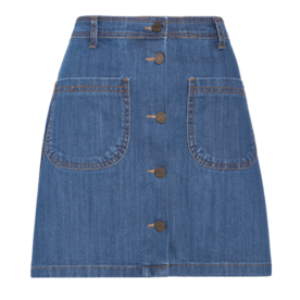 Pixie Market Denim Button A-line Mini Skirt