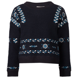 <p>Embroidered Cropped Sweater</p>