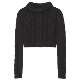 Cropped+Cable-Knit+Sweater