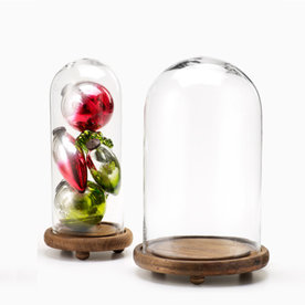 Jamali Glass Cloches On Wood Bases