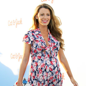 Blake Lively Flaunts Her Baby Bump in a Tie-Front Floral Dress with a Thigh-High Slit