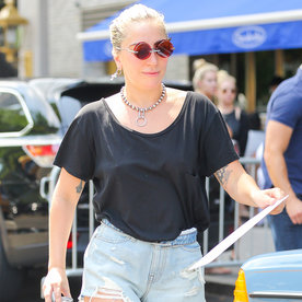 Lady Gaga Rocks Denim Alexander Wang Cutoffs as She Receives Fan Art in N.Y.C.
