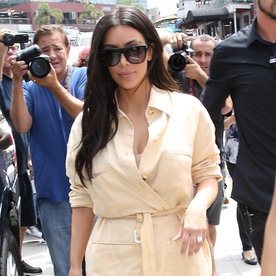 Kim Kardashian West Is Off to the Races in a Waist-Cinching Shirtdress
