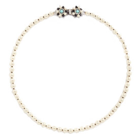 Floral+Clasp+Glass+Pearl+Necklace